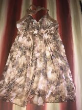 BUBA MODA WOMEN'S SIZE REGULAR XL HALTER DRESS BROWN & WHITE SHEER CHINESE