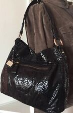 Vtg Liz Claiborne BLACK Snakeskin Embossed Leather Shoulder Purse Hobo Bag VGUC