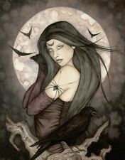 Jessica Galbreth Print 5x7 Fairy Faery ALL HALLOWS EVE wicca moon crow raven htf