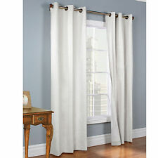 """2 WHITE PANELS FAUX SILK THERMAL LINED BLACKOUT GROMMET WINDOW CURTAIN K32 63"""""""