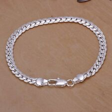 Men's 5mm 20cm 925 sterling silver chains bracelet bangle