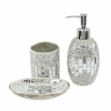 3 PIECE Silver + Chrome Mosaic Glass Bathroom Set Soap Dispenser Dish Toothbrush