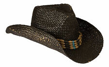 Cowboy Hat Black Straw Beaded Band Vintage/ Distressed & Flexi Fit Sweatband