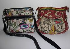 Lot of 2 Sak Roots Sakroots MISSING STRAP Bird Flower Peace Purse Handbag Bag