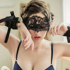 Women Sexy Lingerie Black Lace Eye Covers + 1 Pair Hand Wrap Gloves Black