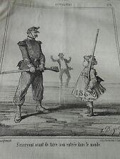 Caricature 1867 Enfant s'exercant avant de faire son entrée dans le monde
