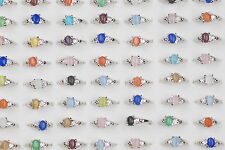 Assorted Colors Jewelry 10pcs Cat Eye Stone Ring Men's Womens Wedding Rings