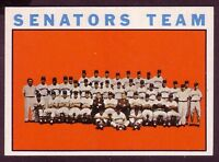 1964 TOPPS WASHINGTON SENATORS TEAM CARD NO:343 NEAR MINT CONDITION
