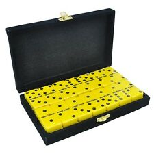 Domino Double Six 6 Yellow Jumbo Tournament Pro size velvet black box spinners