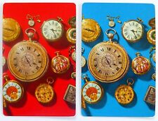 PAIR VINTAGE SWAP CARDS. ANTIQUE FOB WATCHES. GILT EDGE ARRCO. MINT COND