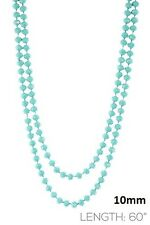 "60"" Long Turquoise Blue Crystal 10mm Beaded Wrap Around Necklace"