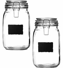 Large Glass Set Of 2 Deli Airtight Clip Top Food Storage Jars Pots Chalk Board