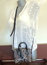 MICHAEL KORS MINI CAMPBELL Steel GRAY PYTHON Embossed Leather Cross Body MINT!