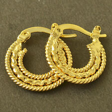 3-Row Fashion Jewelry Yellow Gold Filled Embossed Womens Hoop Earrings Vintage