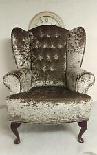 Wing Back, Queen Anne Crushed Velvet Mink Champagne Chair. FREE DEL TO MAIN UK.