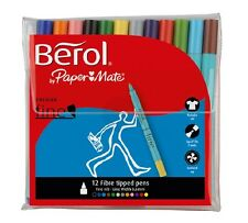 Berol Colour Fine Pen Set - 12 Fibre Tipped Pens - Assorted Colours