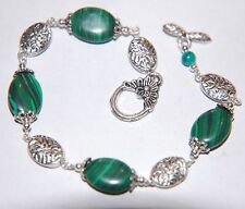Natural Green Striped MALACHITE Gemstone Linked Silver Bracelet ~ Toggle clasp