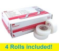 "3M Transpore 1/2"" x 10 yd White Medical Surgical Plastic 1527-0 Tape - 4 Rolls"