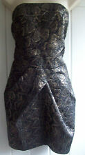 KAREN MILLEN BLACK GOLD JACQUARD DRESS UK 16 US 12 EUR 44 BNWT