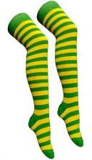 New Ladies or Teens Yellow and Green Stripe Over The Knee Socks Fancy Dress