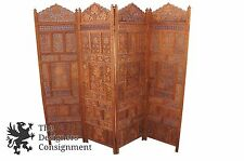 Teak Wood Carved Four Panel Room Divider Vintage Screen Indonesian Style Floral