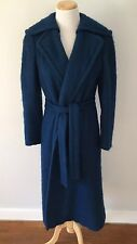 Vtg Mohair Wool Blend long Navy Blue Wrap Coat. Union Made 1950s/60s. Beautiful
