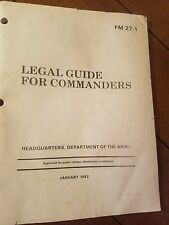 Legal Guide for Commanders (FM 27-1) by Department Army (2012, Paperback)