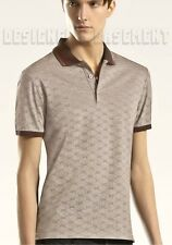 GUCCI Mens XXL beige/brown Original GG jacquard SLIM cotton POLO shirt NWT Auth
