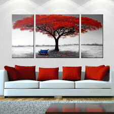 FRAMED Red Tree OIL PAINTING on Canvas Black & White Abstract Modern Wall Art rw