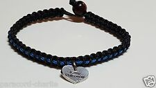 "Thin Blue Line Microcord Bracelet, ""I love My Policeman"" Dangle & Bead Closure"
