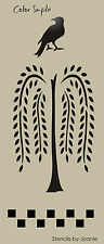 Lg Country Prim STENCIL Willow Tree Crow Check Door Panel Cabinet Furniture Sign