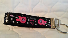 Handcrafted Rockstar Pink Guitar Key Chain Wristlet NEW Free Shipping