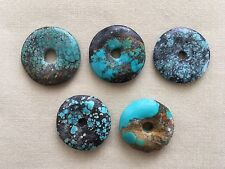 5 Chinese Turquoise 25mm Donut Semi-precious Stone Pi Pendant Beads NOS