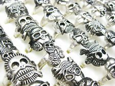 10pcs Wholesale Jewelry Lots Mixed Style Skull Silver Plated Rings Free Ship
