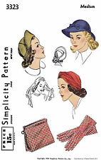 TURBAN Hat Fabric Sewing Pattern SIMPLICITY # 3323 Millinery Caps Gloves Bag MED