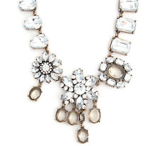 CLEAR WHITE & TOPAZ CRYSTAL RHINESTONE Chunky Flower Pendant Statement Necklace