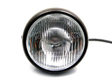 "6 3/4"" Matt Black Steel 12V 55W Motorcycle Headlight For Triumph Retro Project"
