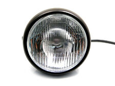 "6 3/4"" Matt Black Steel 12V H4 55W Motorcycle Headlight For Cafe Racer Project"