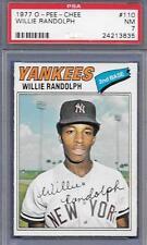 O-PEE-CHEE WILLIE RANDOLPH NYY BASEBALL CARD 1977 OPC #110 PSA GRADED 7 NM *ABC