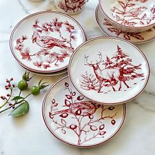 New HOLIDAY TOILE Williams Sonoma SALAD PLATES Set of 4 CHRISTMAS Bird Deer Red