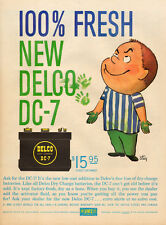 1950s Vintage AD DELCO DC-7 Auto Battery cartoon art by  STEIG 121716