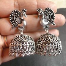 Indian Antique Silver Plated Peacock Fashion Jhumka Party Bridal Earrings Set