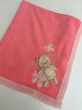 Carter's Classic All About A Bear Blue Hug Me Baby Pink  Blanket  Squeaks