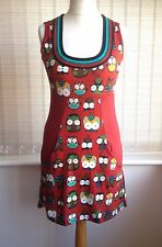 Etnika Slog Large 12 Owl Animal Print Fun Festival Boho Dress Coral Red Gringo