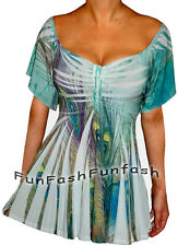 DA2 FUNFASH EMERALD GREEN PEACOCK EMPIRE WAIST TOP SHIRT NEW Plus Size 1X 18/20
