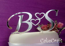 Mirrored Acrylic initial letters Personalised Wedding cake toppers decorations