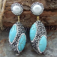 H070115 White Pearl TurquoiseTrimmed With Marcasite Earrings CZ Stud