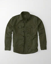 NEW Men's Abercrombie & Fitch Shirt Jacket Stretch Garment Dye Military Olive M