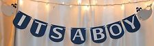 Its a boy baby shower navy blue grey nautical whales hanging banner