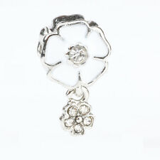 925 Silver White Sakura CZ Pendant Dangle Charm Bead Paint Fit Sterling Bracelet